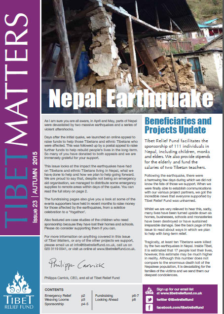 Tibet Matters Issue 18 – Nepal Earthquake
