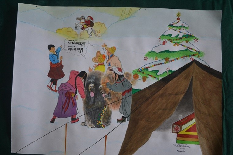 Young Tibetan artists draw this year's Tibet Relief Fund greetings cards